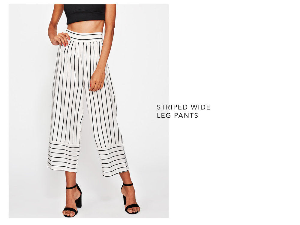Striped Wide Leg Pants - Romwe