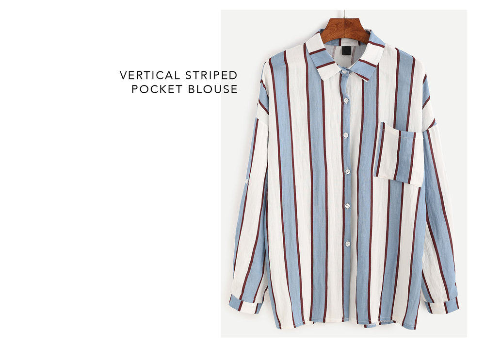 striped pocket blouse - romwe