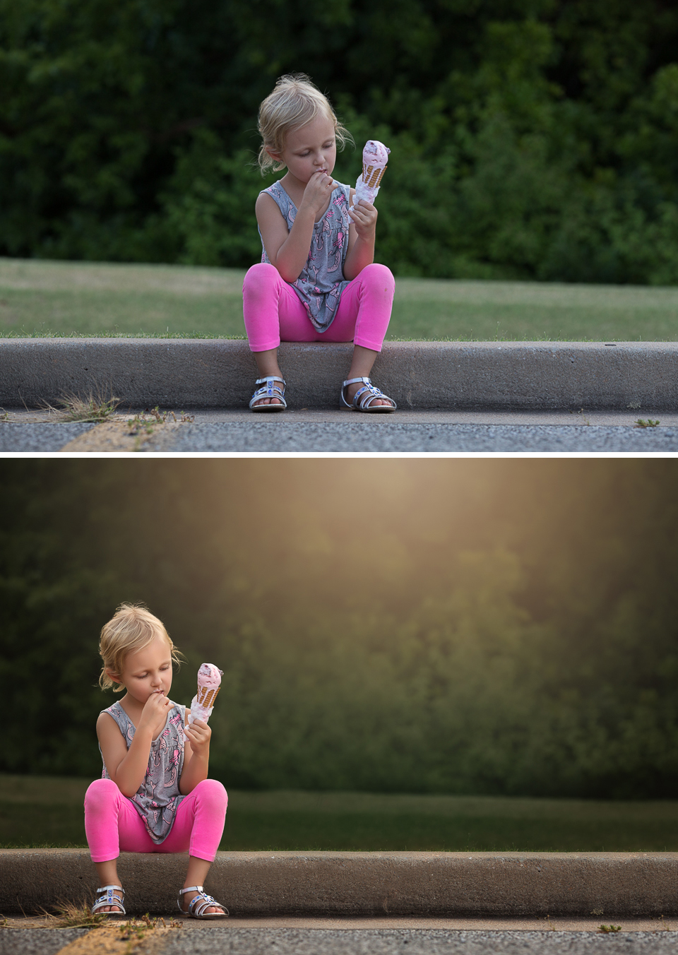 01 evening ice cream girl sitting on curb strawberry ice cream cone golden hour edmond ok oklahoma city photographer