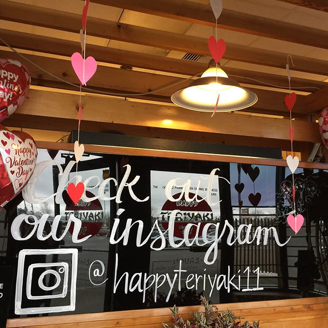 From us to all of you, happy Valentine's Day! Come visit us and say hello! 💕 ❤️ . . . . . . . . . #valentinesday #food #happyteriyaki11 #happyteriyaki #thebestteriyaki