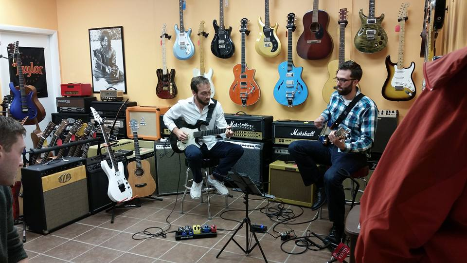John and Will Earley at Brian's Guitars 5 year anniversary