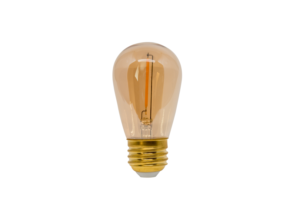 "12V/120V LED S14 AMBER TINTED CLASSIC ""EDISON"" STYLE BULBS    PP-LED-S14-WW-AMB    PP-LED-S14-12-WW-AMB"