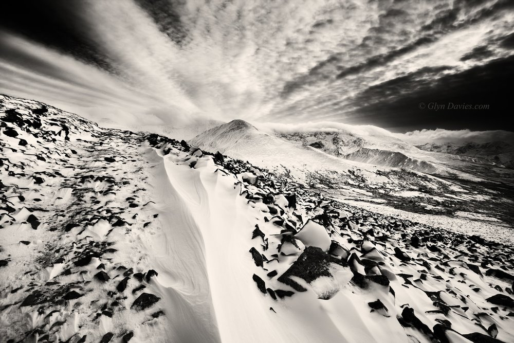 """Virginal Explosion"" - A winter explosion of snow and clouds, Snowdonia - Canon 1DSmk3"