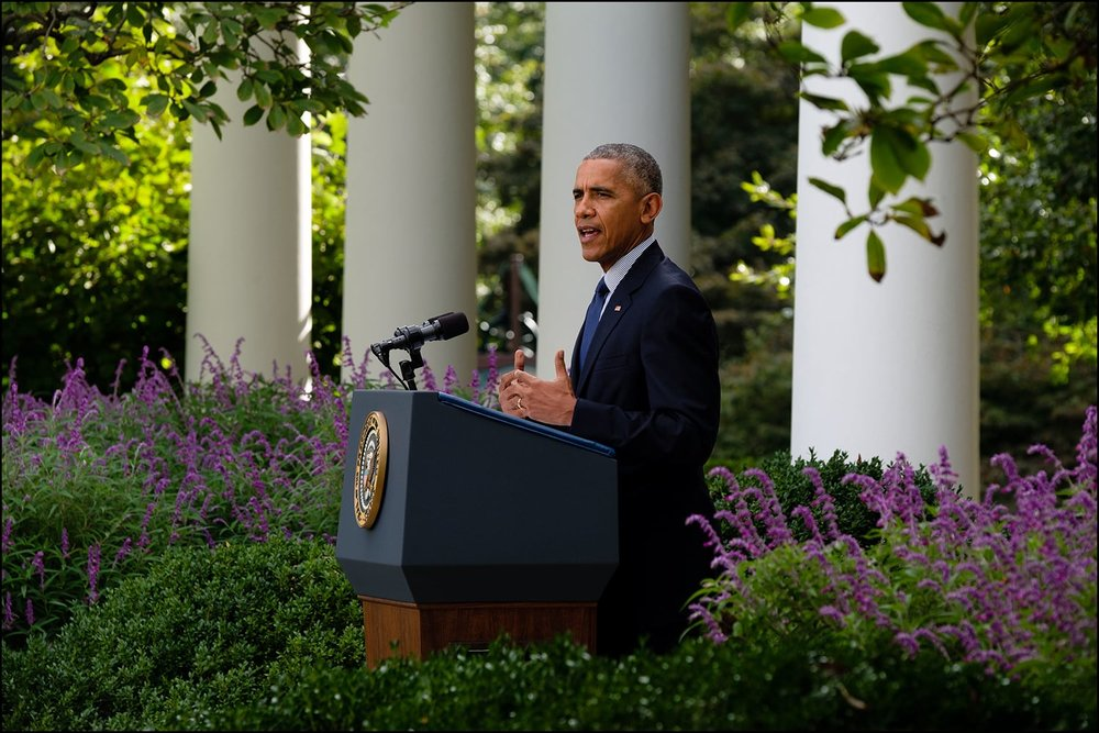 President Barack Obama delivers a statement regarding the Paris Agreement on climate change, in the Rose Garden of the White House, Oct. 5, 2016. (Official White House Photo by Chuck Kennedy).