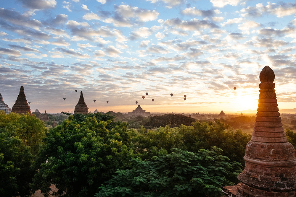 Hot air balloons at sunrise in Bagan, Myanmar