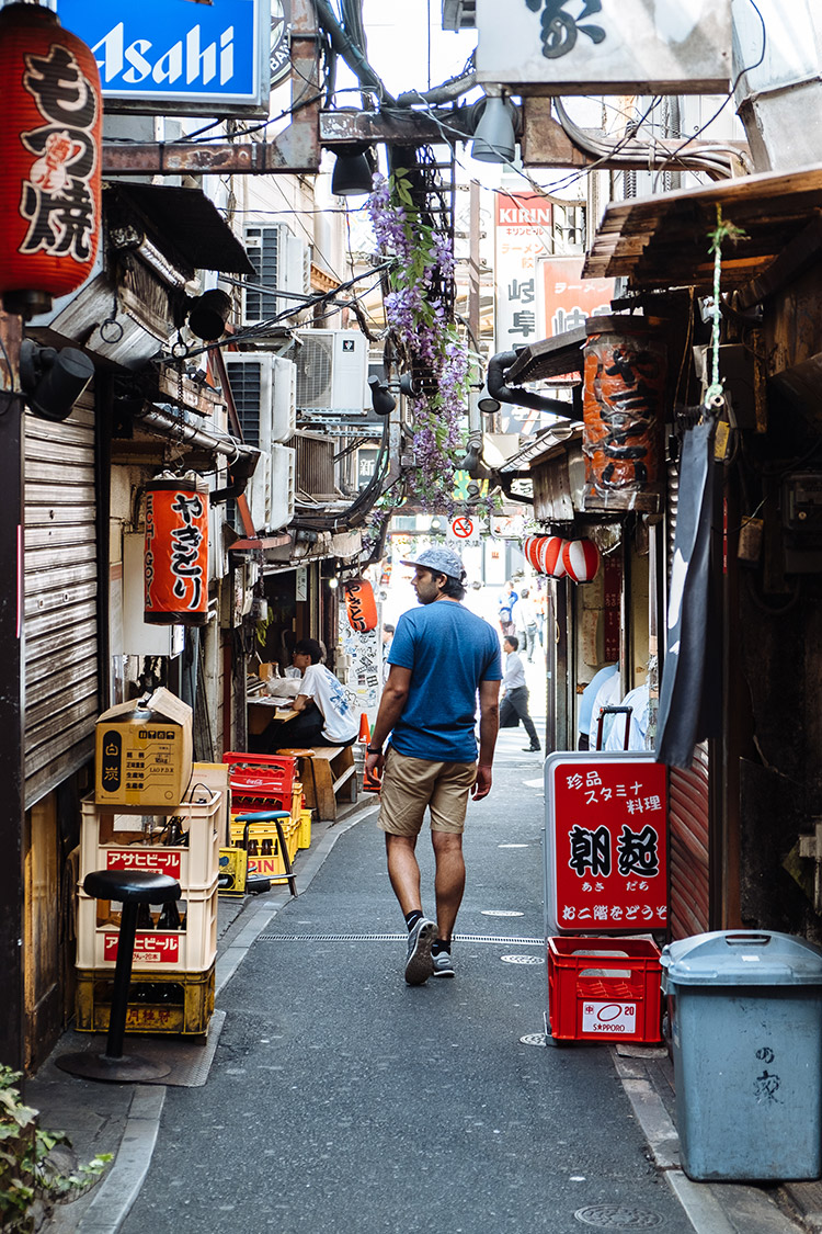 "Looking for lunch in ""Piss Alley"" in Tokyo, Japan"