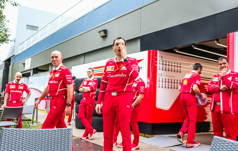 Ferrari mechanics standing out at the back of their garage on Sunday during the 2017 Rolex Australian Formula 1 Grand Prix. Albert Park circuit in Melbourne, Australia March 26th 2017.