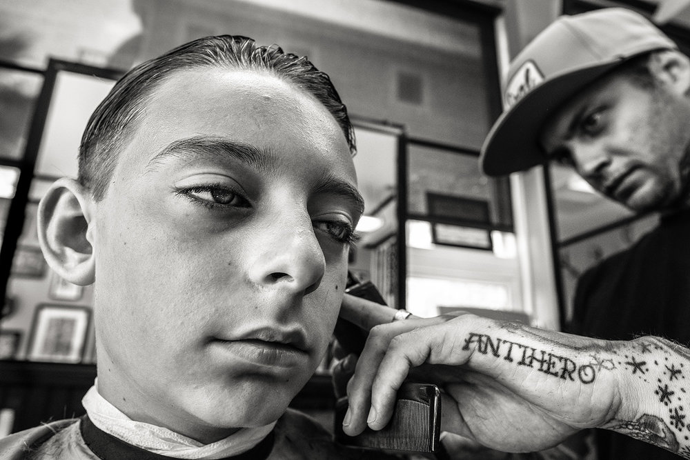 Cusp — my son, exiting childhood with many insecurities, contrasted with the barber.