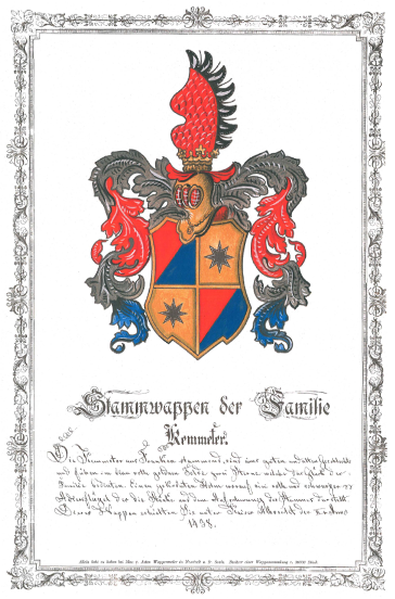 Kemmeter Family Crest, bestowed by Emperor Albrecht II, 1438