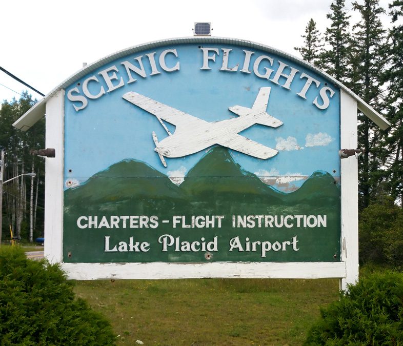 Aging hand-made sign at Lake Placid Airport