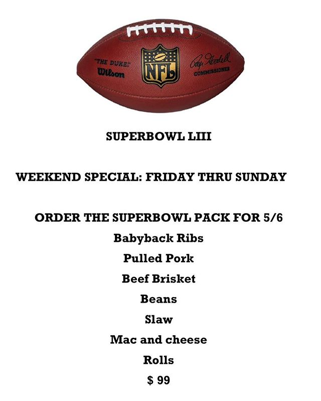 Come check out our Super Bowl menu and have all the food you need for the big game!🏈🐖🔥