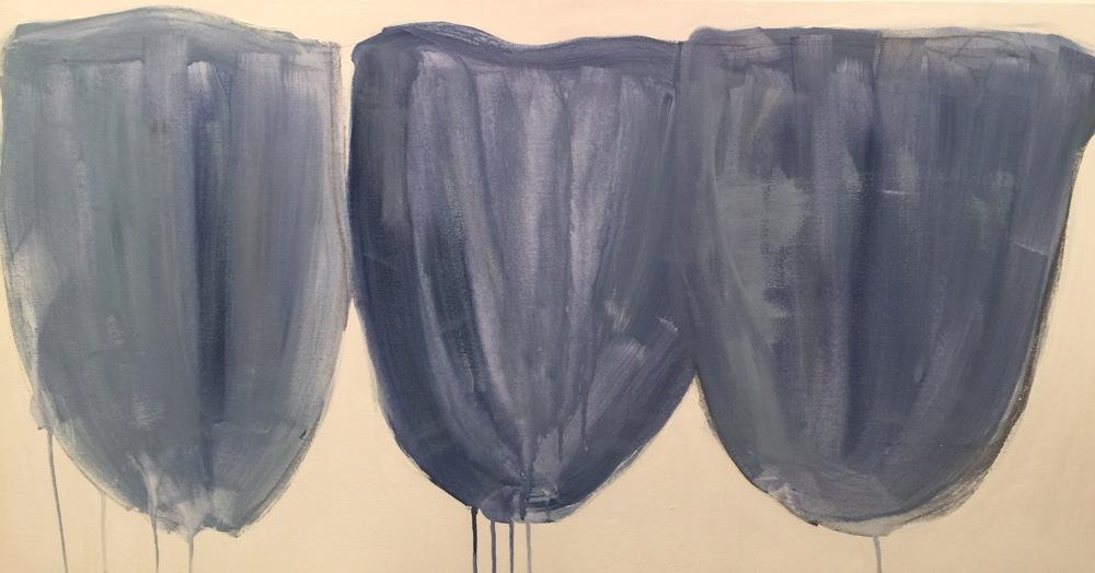 Three Tiki Tulips French Blue 48 x 24