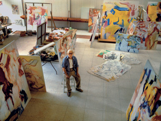 Studio with Late Abstract Paintings, Springs, 1981