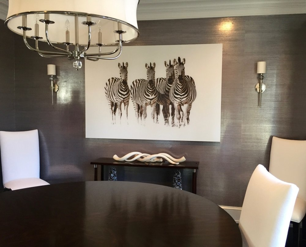 Dazzle of Zebras , by Laurie Fishman, Art Installation by Romanoff Elements, with Nest Inspired Home