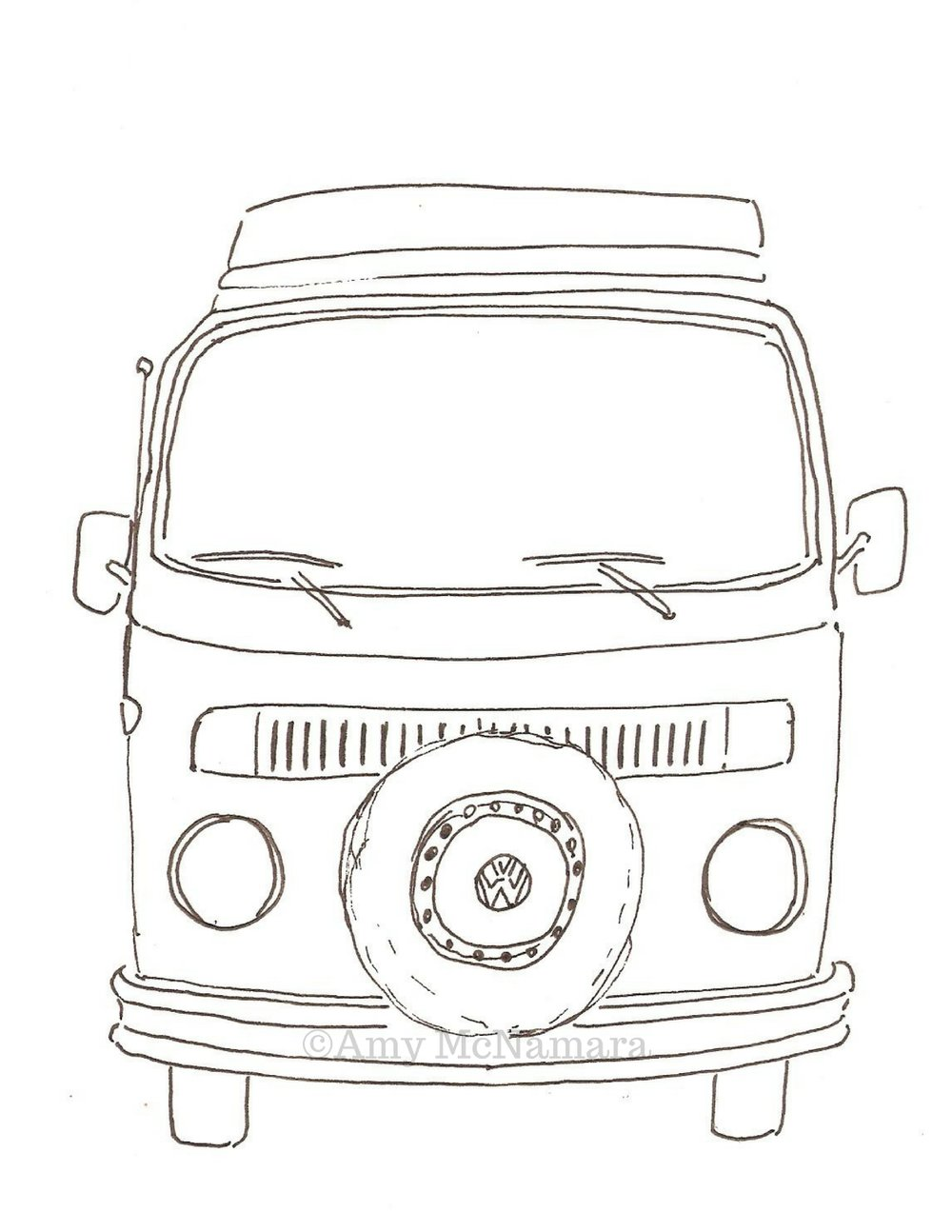 no. 239A VW Bus Black & White