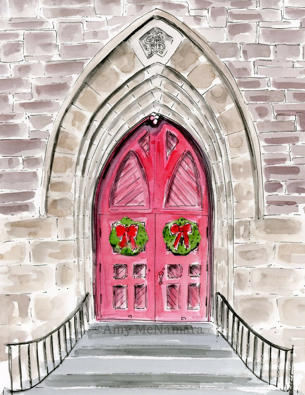no. 282 St Paul's Episcopal Church Doors Christmas