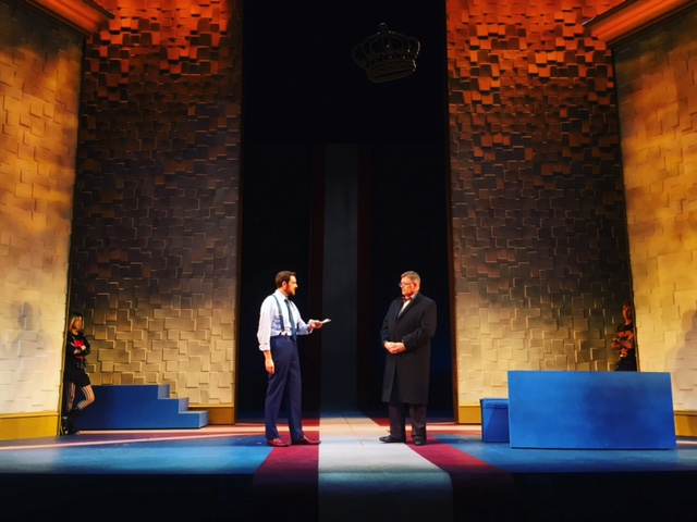 British Prime Minister Tristan Evans in Mike Bartlett's King Charles III at Arizona Theatre Company, directed by Matt August.
