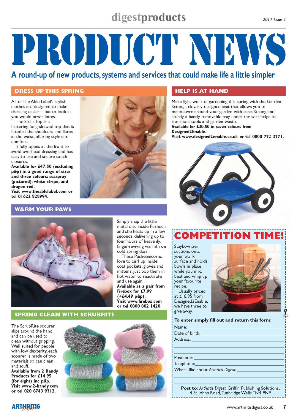 'ScrubRite' featuring in the March edition of Arthritis Digest