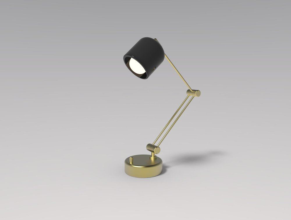 Desk/work lamp designed and modeled for Intro to CAD course.