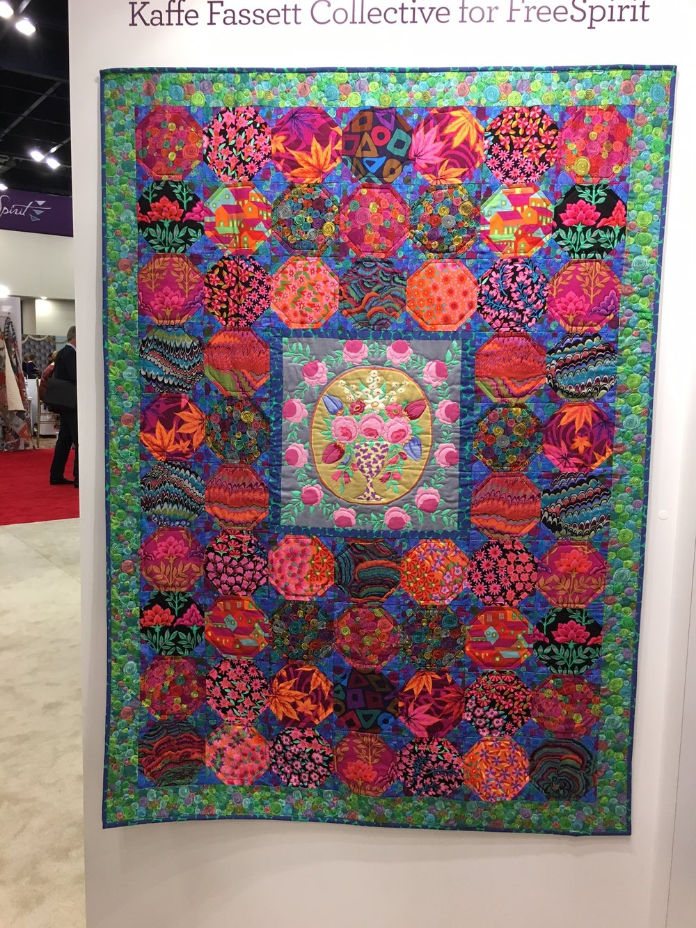 Quilt using Kaffe Fassett Collective Fabrics at the Free Spirit booth.