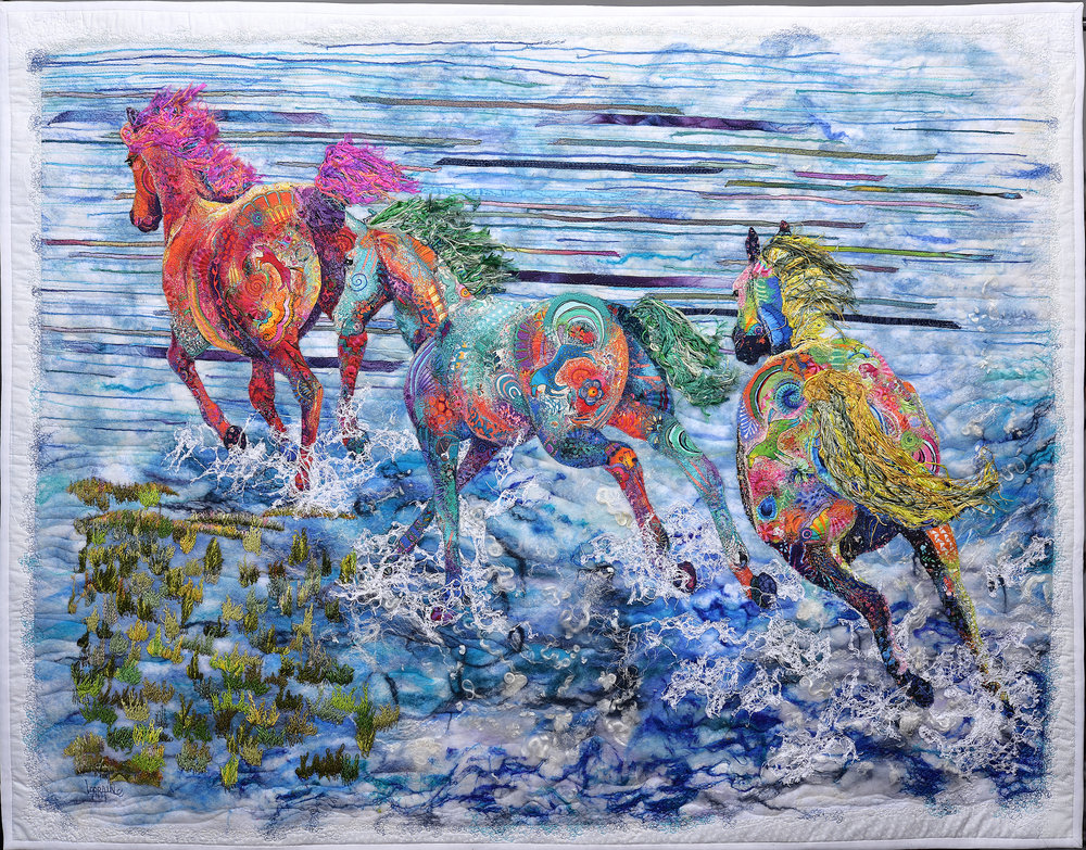 "The Three Bankers   Meditation often brings me scenery that seems as if I am in wild action drama. I feel and hear what is shown to me. The urgency within the messages the wild horses of the Outer Banks convey is unmatched. They are a proud species overcoming centuries of harsh weather and their numbers are dwindling. They cannot gallop fast enough to escape the rising tides of Global warming and they speak of humanity's need to share the land they roam. They prick their ears when I try to I assure them I am doing my best and I understand their struggles, but I am but one artist. This does not stop their thundering approach as they pound the shores and toss their heads to say, ""we are a part of your community and if the water overtakes us it will overtake you."" Many volunteers work hard to try and protect these guardians of the sea, however they cannot do it all. The Bankers want us to join together as stewards of our planet to assure ALL offspring be it animal or human has a future. This art will benefit the non-profit organization Corolla Wild Horse Fund as they continue to aid these magnificent steeds.  Techniques: Wet-Felted, free-motion embroidery, hand embroidery, thread painting, raw appliqué Materials: Cotton, merino wool, lace, tussah silk, banana fibers, dyed silk floss, silk ribbons Original art. Reference photo with permission by by FitzFotos"