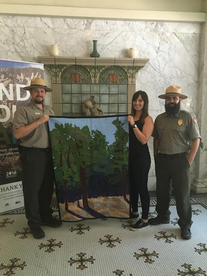 From left: Ranger Kevin Peppard, me, Ranger Miguel Marquez in the historic Fordyce Bathhouse Visitor Center at Hot Springs National Park