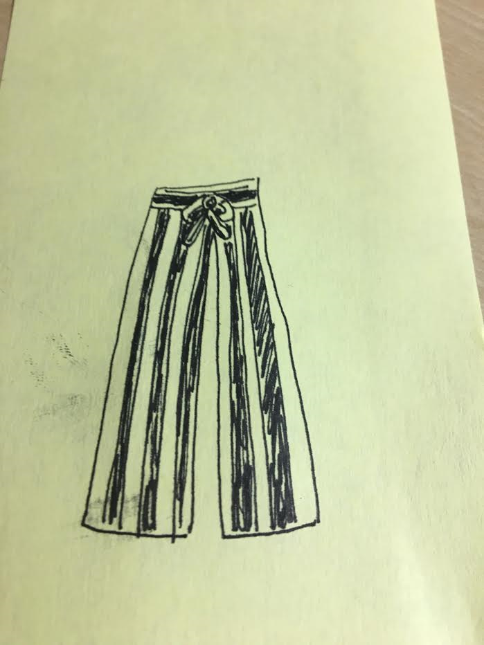 It's not exactly a high fashion rendering. It's on a post it note!