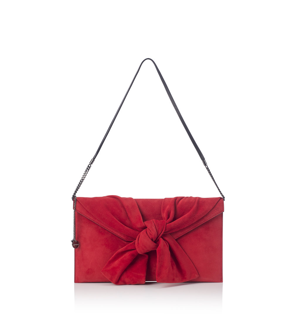 Jimmy Choo - Riva Suede Clutch   Red