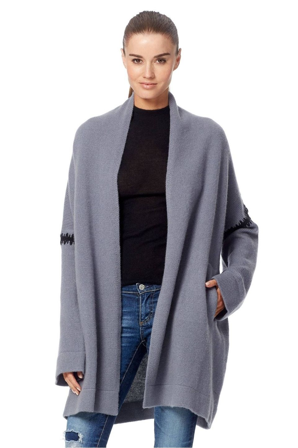 360 Cashmere Savana Cardigan   Grey