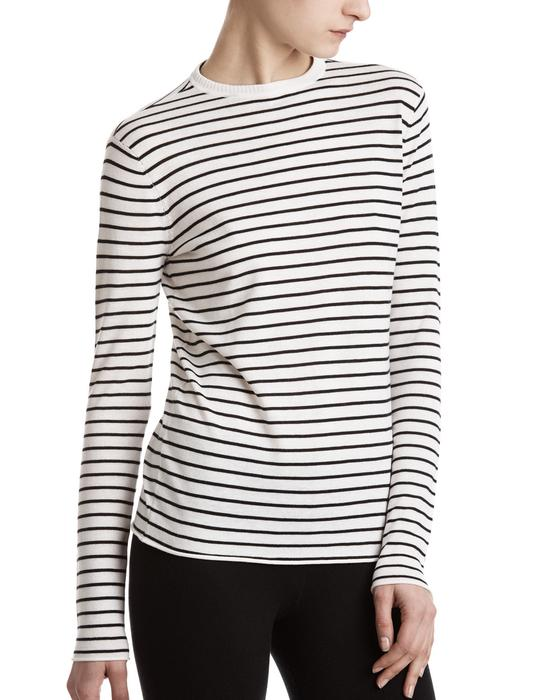 ATM Striped Crewneck Top   Black/White