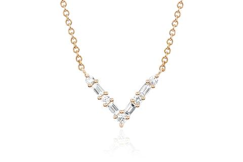 EF Collection Diamond Baguette Chevron Necklace   Gold
