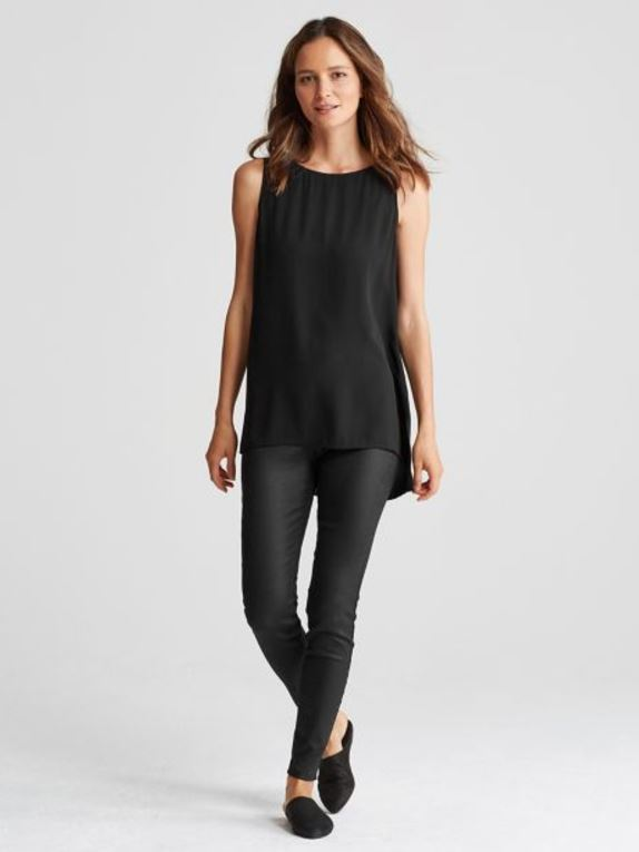 Eileen Fisher Coated Stretch Denim Legging   Black