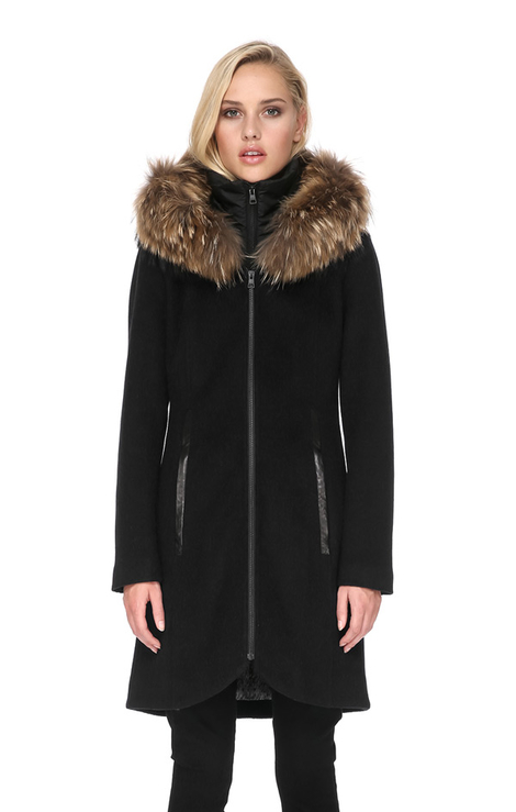 Soia & Kyo Charlena Coat with Fur   Black