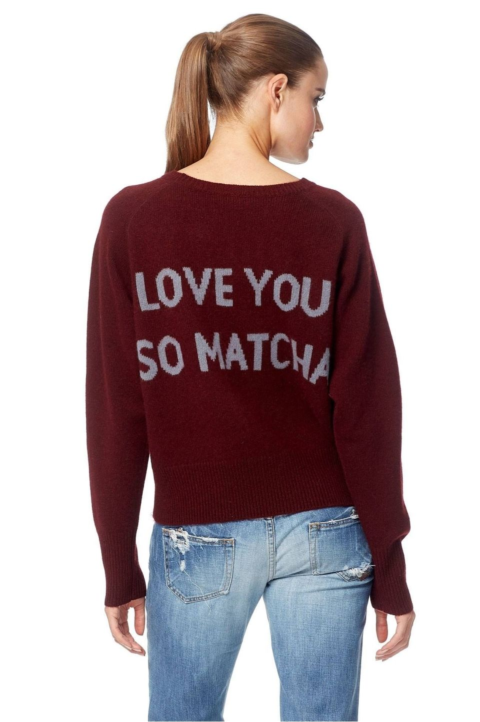 360 Cashmere I Love You Matcha Sweater   Burgundy/Grey