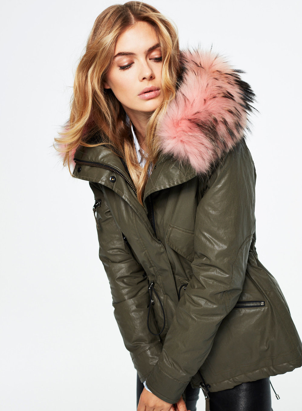 Sam Hudson Jacket with Fur   Olive/Pink