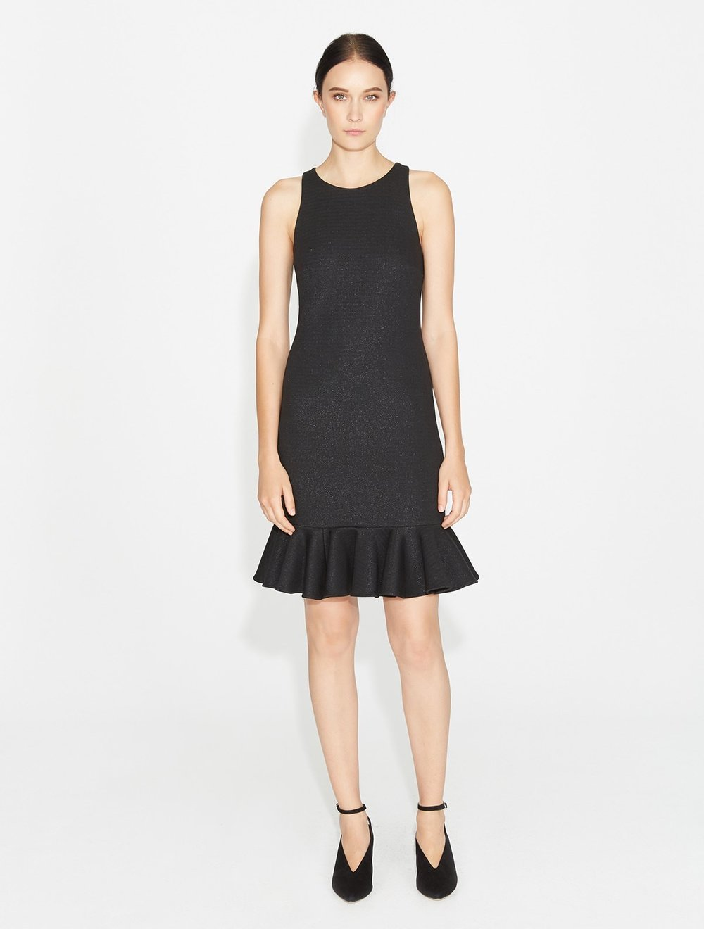Halston Fitted Shimmer Dress   Black
