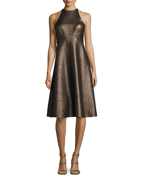 Halston Glitter Jacqard Dress   Gold