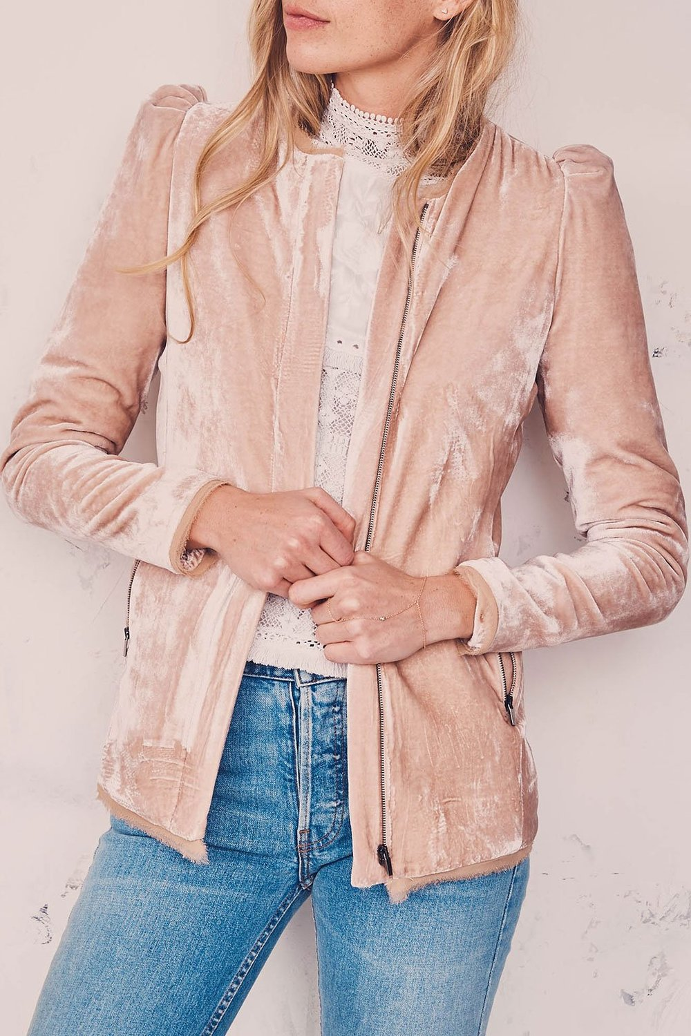 Love Shack Fancy Sienna Jacket   Blush