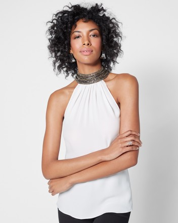 Ramy Brook Veronica Beaded Halter   White