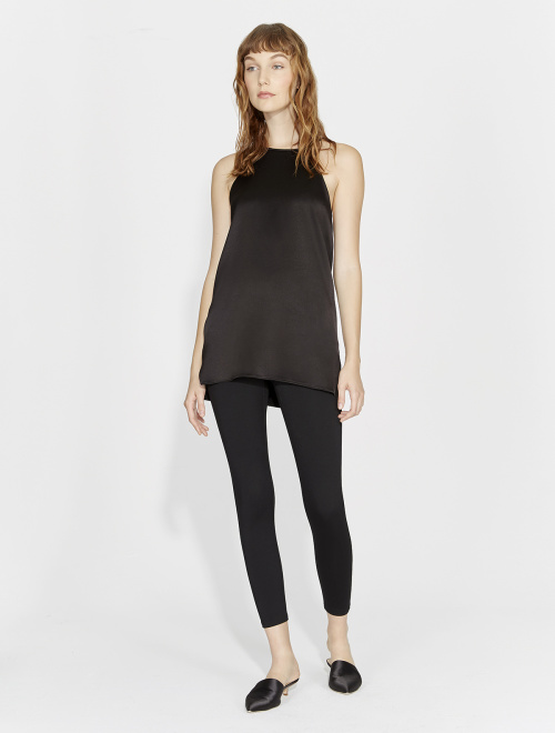 Halston High Neck Flowy Silk Top   Black