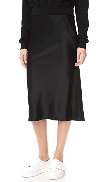 T by Alexander Wang Draped Satin Straight Skirt   Black