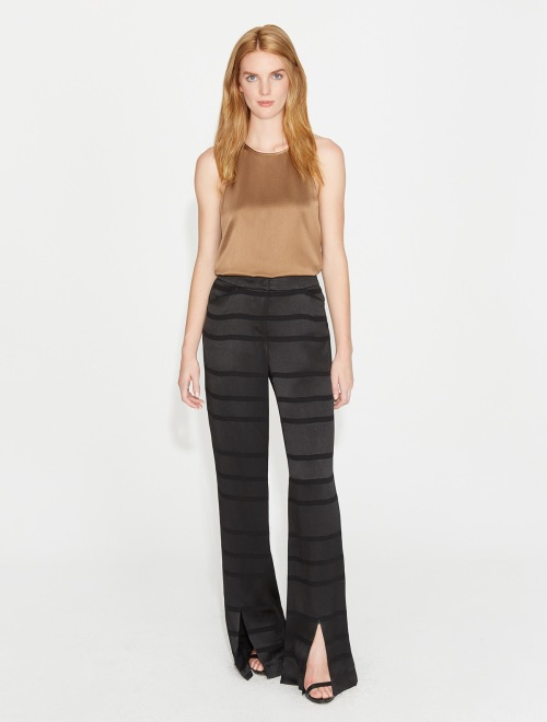 Halston Satin Stripe Pant with Front Slits   Black