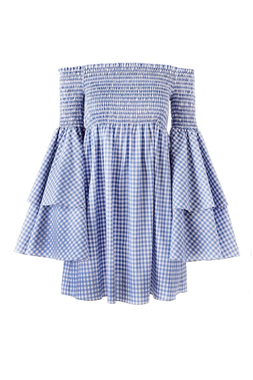 Caroline Constas Appelonia Ruffle Off Shoulder Gingham Dress   Blue/White