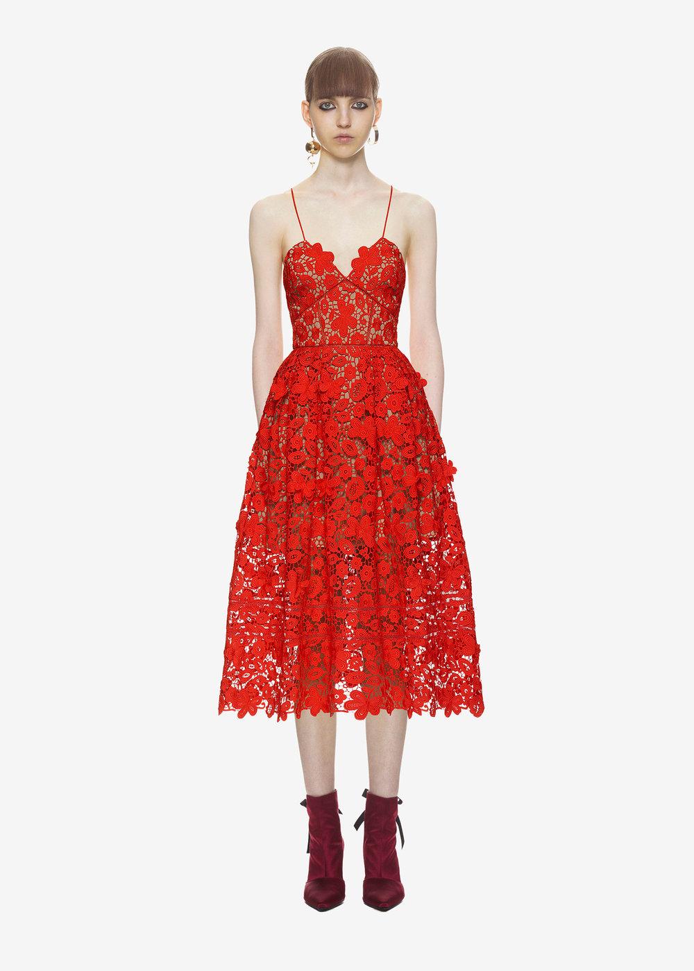 Self-Portrait 3D Floral Azalea Dress   Red