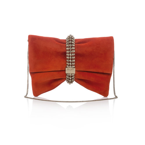 Jimmy Choo  Chandra Suede Clutch with Crystal Bracelet   Red