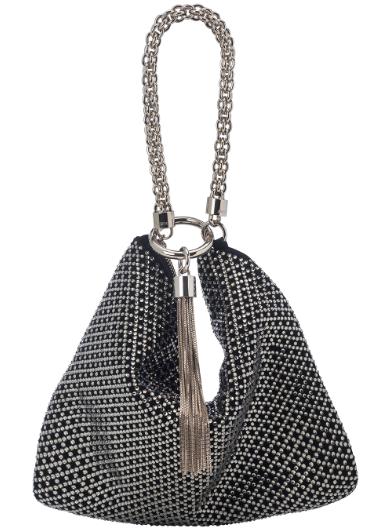 Callie Suede Handbag   Black/Silver