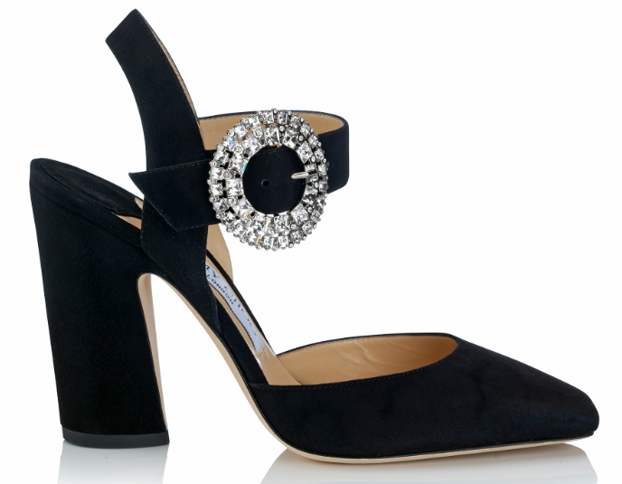 Matilda Suede Heel with Crystal Buckle   Black
