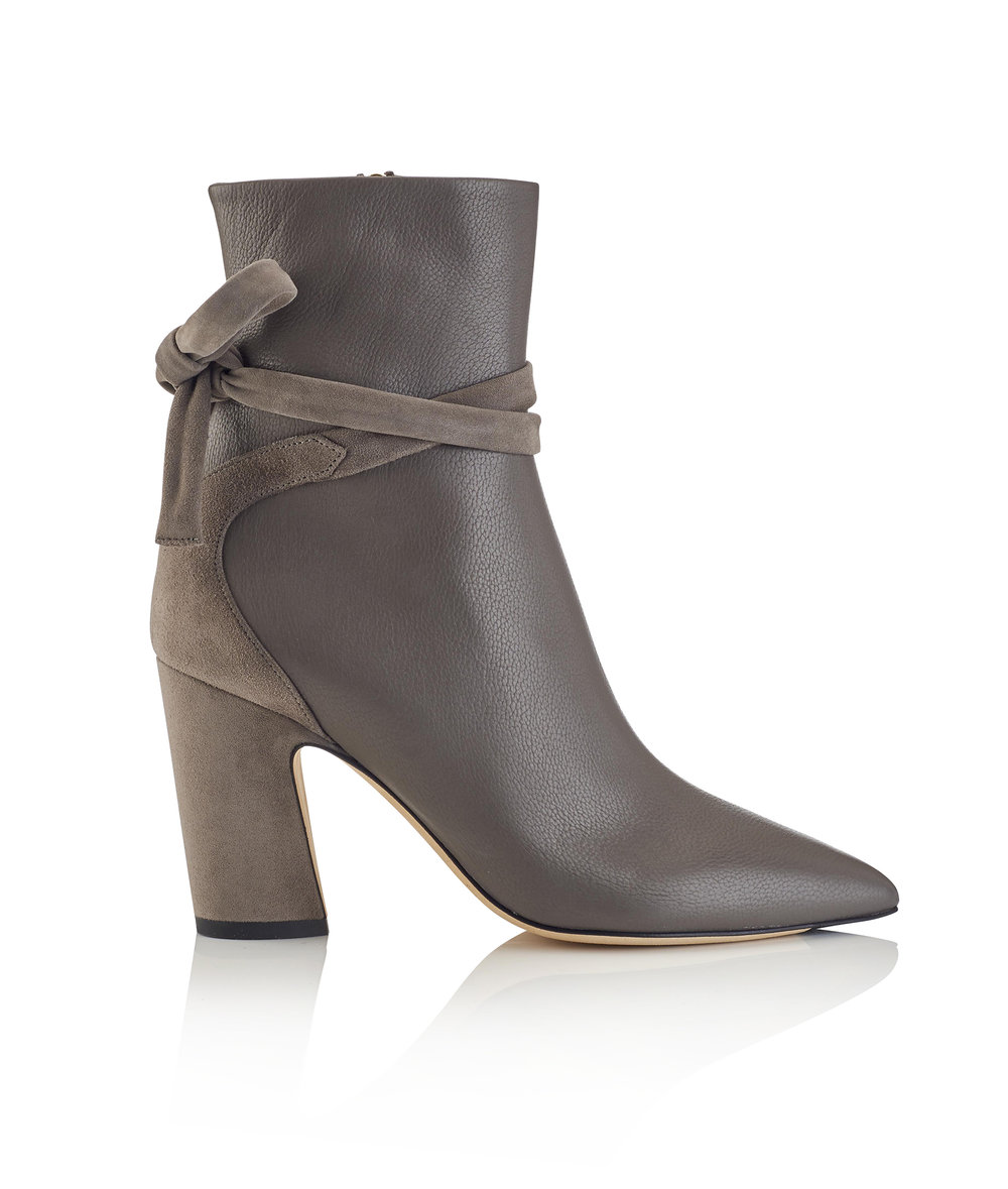 Henrietta Grainy Leather Boot   Dark Grey