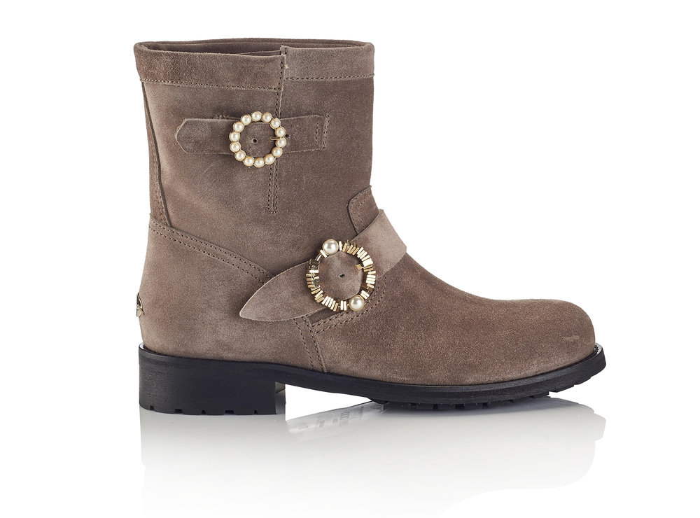 Youth Velvet Suede Boot with Pearl Buckles   Grey/White