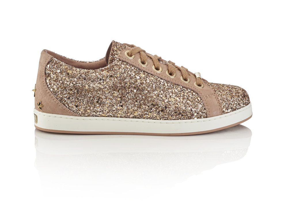 Cash Shadow Coarse Glitter Sneaker   Blush